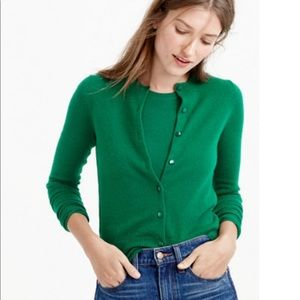 J Crew Featherweight Cashmere Cardigan Green M